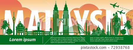 Malaysia famous landmark silhouette style,text within 72938768