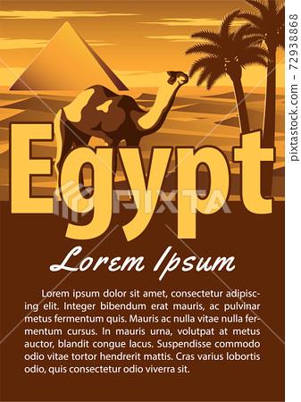 Egypt landmark brochure in typography vintage color design,advertising artwork 72938868
