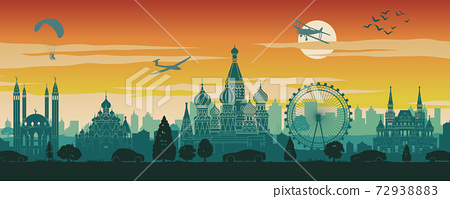 Russia famous landmark in scenery design,travel destination,silhouette design, sunset time in red and green color 72938883