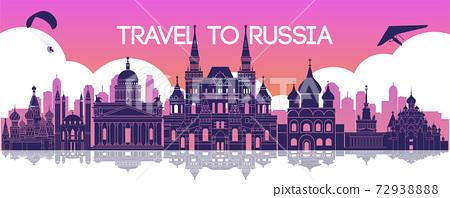 famous landmark of Russia,travel destination,silhouette design, pink color 72938888