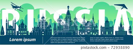Russia famous landmark silhouette style,text within,travel and tourism,blue and green tone color theme 72938890