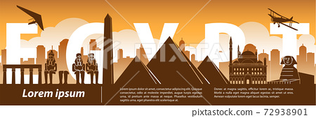 Egypt famous landmark silhouette style,text within,travel and tourism,orange and brown tone color theme 72938901