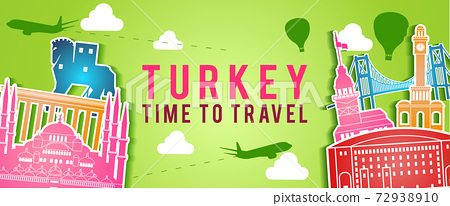 green banner of Turkey famous landmark silhouette colorful style,plane and balloon fly around with cloud 72938910