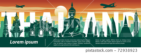 Thailand famous landmark silhouette style,text within,travel and tourism,sunset tone color theme 72938923