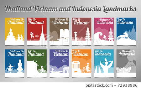 Thailand Vietnam and Indonesia famous landmark and symbol in silhouette design with multi color style brochure set 72938986