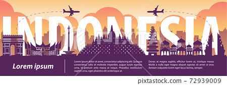 Indonesia famous landmark silhouette style,text within,travel and tourism,purple and orange tone color theme 72939009