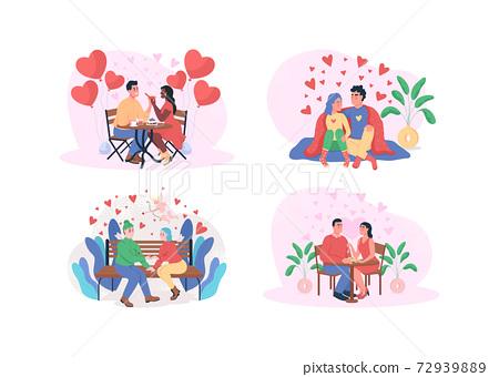Valentine day 2D vector web banner, poster set 72939889