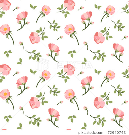 Rose bud and green leaf seamless pattern for fabric design 72940748