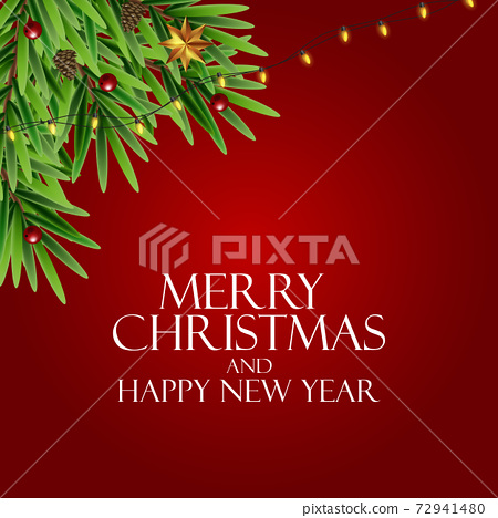 Holiday New Year and Merry Christmas Background. Vector Illustration 72941480