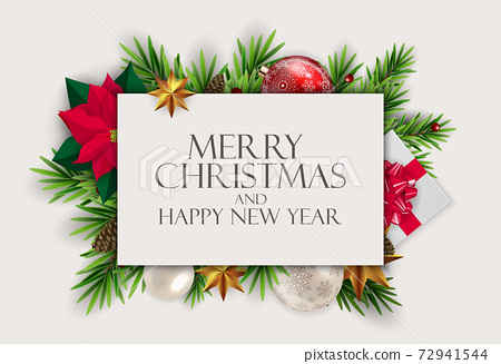 Holiday New Year and Merry Christmas Background. Vector Illustration 72941544