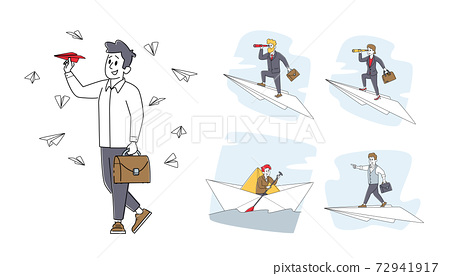 Set Business Characters Sail Paper Boat, Flying on Paper Airplane. Man and Woman in Ocean and Sky Risk, Search Solution 72941917
