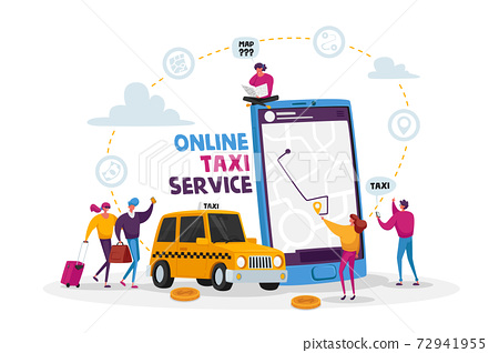 Characters Order Taxi Car Using Application and Catching on Street.Taxi Service. Driver in Yellow Cab Waiting Passengers 72941955