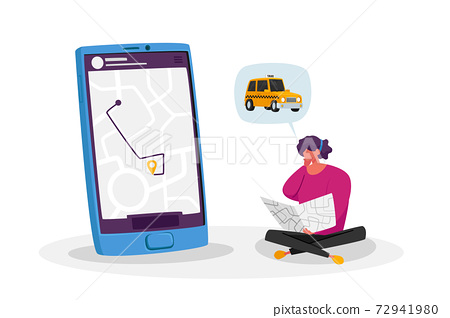 Young Woman Ordering Taxi Driver Using Mobile Application on Smartphone. Female Customer Character Waiting Car with Map 72941980