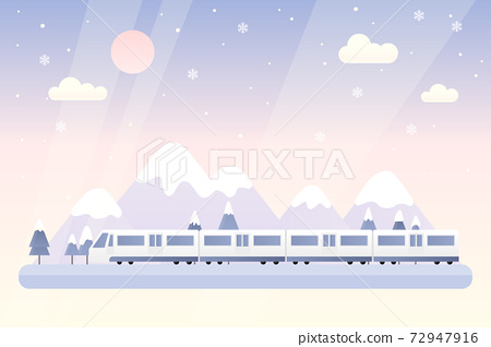 겨울 기차 여행 벡터 일러스트 72947916