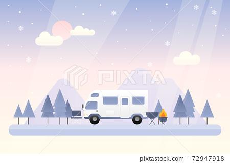 冬季景觀矢量圖 72947918