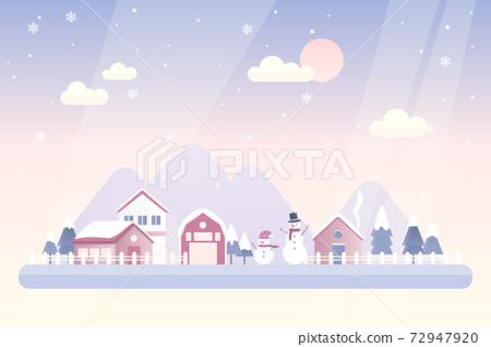 雪人和村莊冬天風景矢量圖 72947920