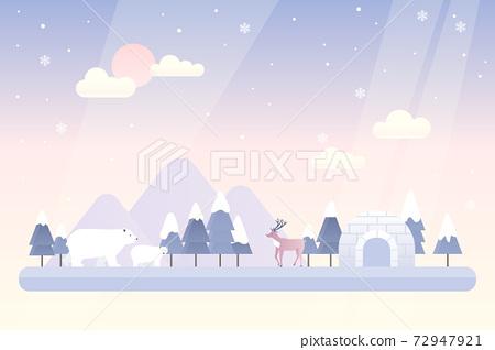 冬季自然景觀與圓頂冰屋的矢量圖 72947921