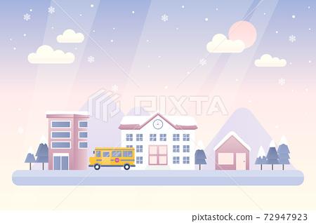 도시의 겨울 풍경 벡터 일러스트 72947923