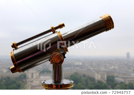 Observation deck with Telescope on Eiffel Tower 72948757