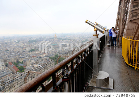 Observation deck with Telescope on Eiffel Tower 72948758