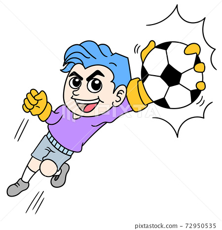 soccer sport of a goalkeeper catching the ball with one hand, doodle icon image 72950535