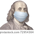 Portrait of Benjamin Franklin wearing medical protective mask for virus protection 72954364