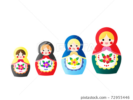 A group of colorful traditional russian dolls, Matryoshka 72955446