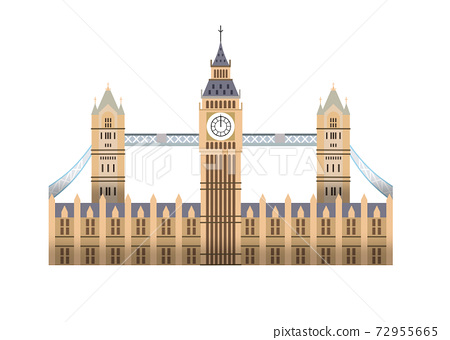 Bigben and London Bridge, two famous landmarks from London England 72955665