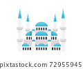 A historical landmark, Sultan Ahmed Mosque or Blue Mosque from Istanbul Turkey 72955945