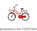 A red two wheels bicycle 72955946