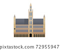 A Gothic town hall from the middle ages in Brussels Belgium 72955947