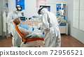 Dentist in protective equipment reviewing x-ray using tablet 72956521