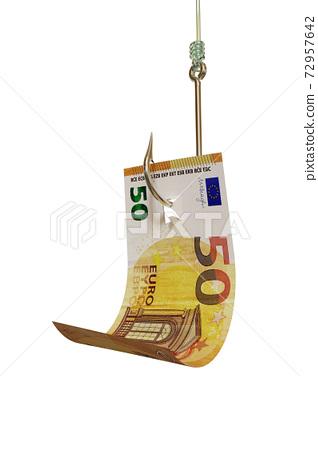 Euro bill on fishing hook 3D illustration 72957642