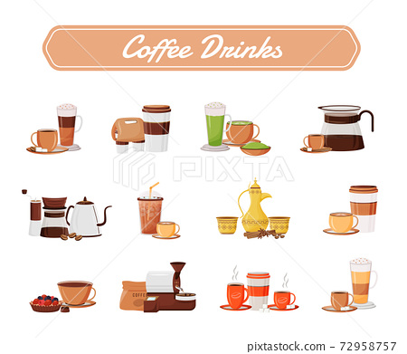 Coffee drinks flat color vector objects set. Cappuccino serving. Traditional dallah. Americano in ceramic mugs. Espresso takeout. Cups and kettles 2D isolated cartoon illustrations on white background 72958757