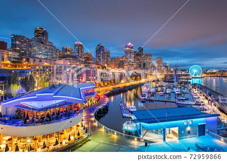 Seattle, Washington, USA pier and skyline at dusk. 72959866