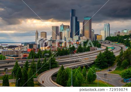 Seattle, Washington, USA downtown skyline and highways at dusk. 72959874