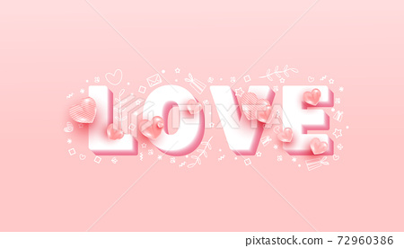 Minimal volumetric text with 3d love shapes on pink background. Cute love banner or greeting card 72960386