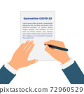 Hands signing decree for quarantine COVID-19. Stay home. Novel coronavirus 2019-nCoV . Concept of coronavirus quarantine 72960529
