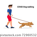 Man in white medical protective mask and medical gloves, walking with their dog. Coronavirus quarantine vector illustration. 72960532