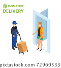 Fast delivery flat isometric vector concept. The Courier stays with the parcel near the door and gives the parcel to the customer. 72960533