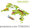 Global Logistic Isometric Vehicle Infographic. Ship Cargo Truck Van Logistics Service. Import Export Chain. Ensured Deliveries Drawing. Distribute Objects Shipment Vector. Fast Delivery Shipping 72962041