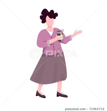 Elegant adult woman with thermo mug flat color vector faceless character. Caucasian middle aged lady holding portable metal coffee cup isolated cartoon illustration for web graphic design, animation 72964718