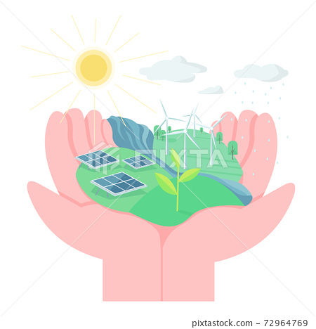Environment protection flat concept vector illustration. Hands holding land with solar panels and wind turbines. Eco friendly living 2D cartoon element for web design. Use alternative energy creative 72964769