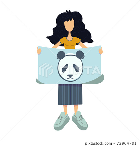 Zero waste flat cartoon vector illustration. Standing woman holds banner with panda. Animals caring. Ready to use 2d character template for commercial, animation, printing design. Isolated comic hero 72964781