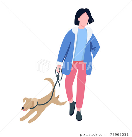 Man walking with dog flat color vector faceless character. Pet owner, dog lover strolling with playful puppy outdoors isolated cartoon illustration for web graphic design and animation 72965051