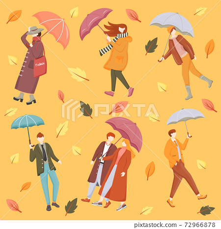 People with umbrellas flat vector seamless pattern. Orange background. Seasonal wear. Autumn leaves texture with cartoon color icons. Rainy and windy weather wrapping paper, wallpaper design 72966878