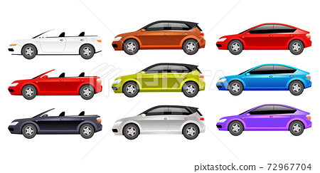 Cars flat color vector objects set. Different personal transport 2D isolated cartoon illustrations on white background. Luxurious cabriolet, family hatchback and modern sedan in various colors 72967704