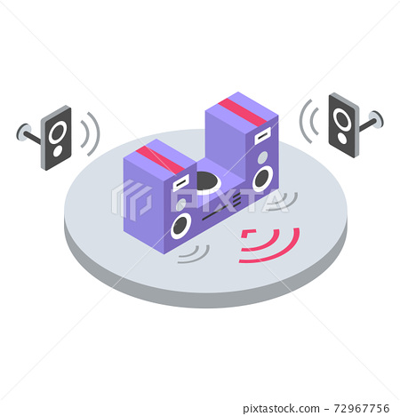 Stereo system isometric color vector illustration. Music volume remote control. Loudspeakers, home theater, audio amplifier. Entertainment equipment 3d concept isolated on white background 72967756