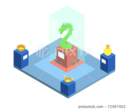 Historical museum exposition isometric vector illustration. Cultural heritage exhibition, showroom with ancient artifacts 3d interior layout isolated on white. Archeological exhibits collection 72967802