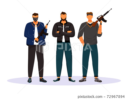 Criminal gang flat color vector faceless character. Group of gangsters, armed terrorists. Mob, syndicate. Mafia. Organized crime isolated cartoon illustration for web graphic design and animation 72967894